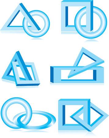 Vector illustration of blue design elements