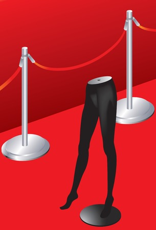 Vector illustration of Red carpet and model