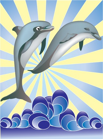 Two dolphins jumping from water whit sunset on a background