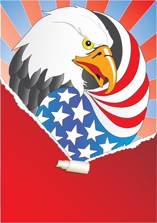 Ripped paper and eagle with wing like a american flag Vector