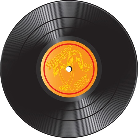 Vector illustration for Vinyl record with summer hits Vector