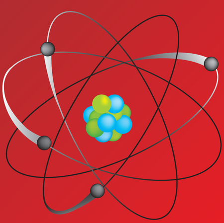 Vector illustration of atom on a red background