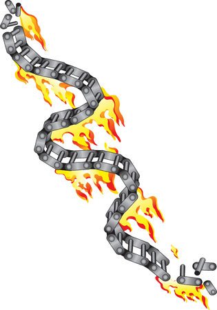 Vector illustration for broken chain of a motorcycle in flames Vector