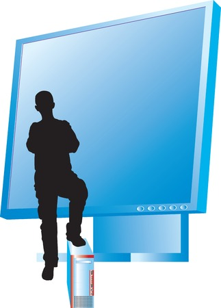 siluet: Vector illustration for mens siluet with monitor and computer