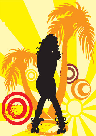 Vector illustration of roller girl with a palm in the background