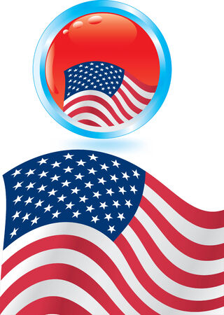 Vector illustration for American flag and glossy button Stock Vector - 5325411