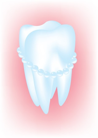 Vector illustration of a tooth that looks like a pearl Vector