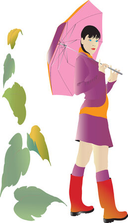 Vector illustration for girl with umbrella Stock Vector - 5360285