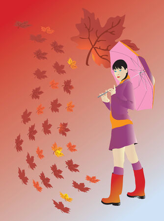 Vector illustration for Girl at autumn Vector