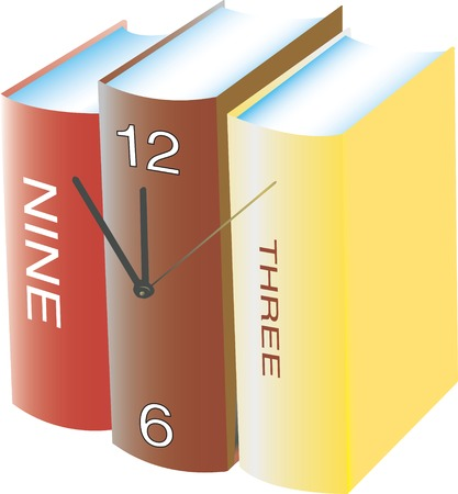 Conceptual clock made with three books Illustration