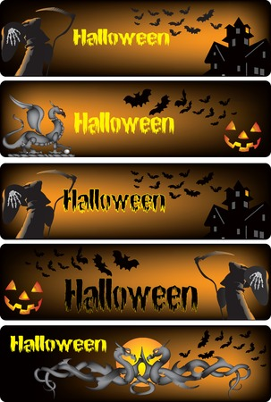Vector illustration of five Halloween banners Vector