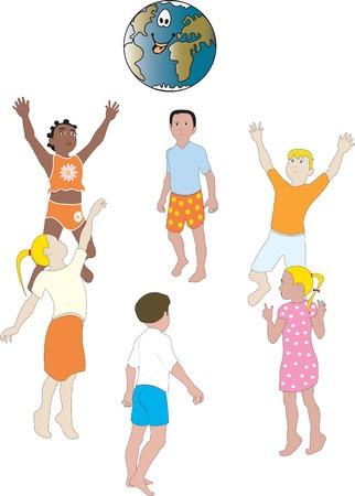 子供たちと世界から分離された白い背景の上のベクトル イラスト 写真素材 - 5408307