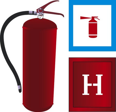 Vector illustration of fire extinguisher with hidrant and icon