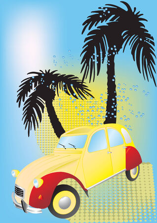 Vector illustration for old car on the beach Illustration