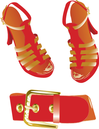Vector illustration of red belt and shoes Stock Vector - 5408330