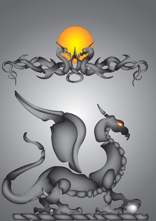 Vector illustration of abstract dragon Vector