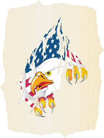 Vector illustration for old paper, eagle and american flag Vector
