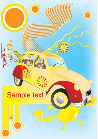 Vector illustration of an old car with flowers and guitar Vector