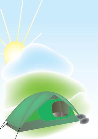 smoldering: Illustrazione vettoriale della tenda verde