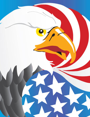 Vector illustration of Eagle with wing like a American flag Vector