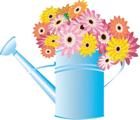 Vector illustration for Blue watering can with flowers isolated on a white background