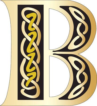 Vector illustration of Celtic letter isolated on a white background Illustration