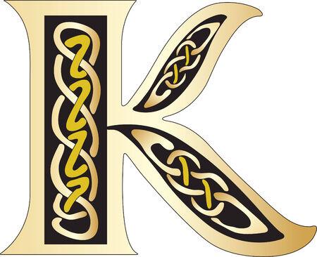 celtic background: Vector illustration of Celtic letter isolated on a white background Illustration