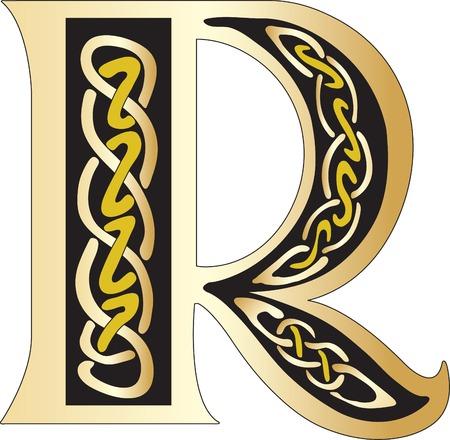 r image: Illustrazione vettoriale della lettera Celtic isolato su uno sfondo bianco  Vettoriali