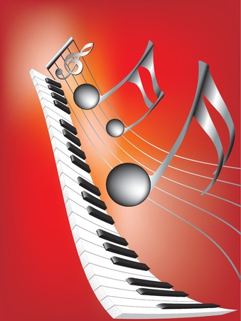 ebony: Vector illustration for Musical notes and keyboard on  abstract red background Illustration
