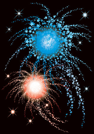 Vector illustration of fireworks with blue and red stars Vettoriali