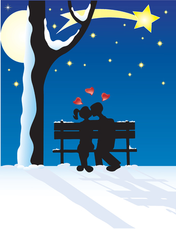 Vector illustration for couple at yuletide Vector