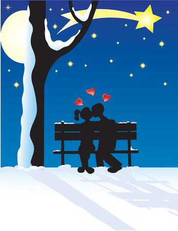 Vector illustration for couple at yuletide