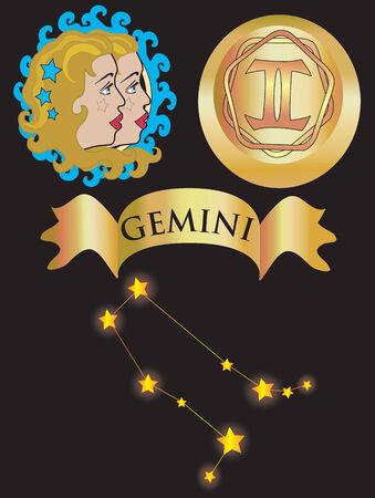 Ilustración vectorial para signo zodiacal Géminis