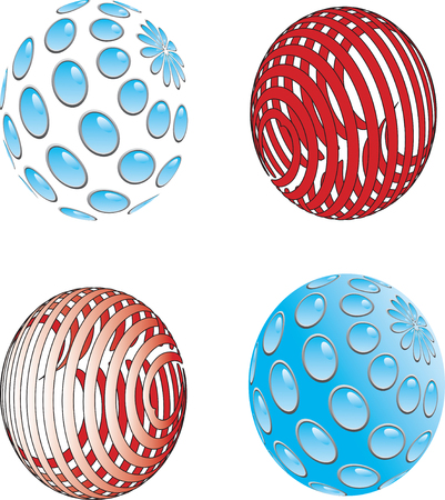 Vector illustration of red and blue sphere