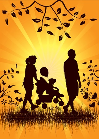 Vector illustration of a young couple with a child and the sun in the background Stock Vector - 6199026