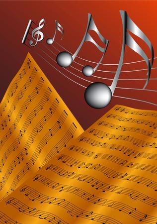 Vector illustration for old musical score
