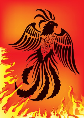 Vector illustration of phoenix on red background