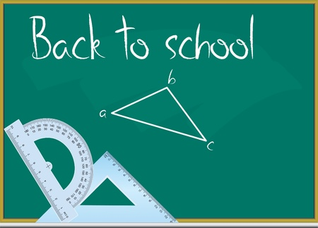 Back to school text on the blackboard in vector format Stock Vector - 9657799