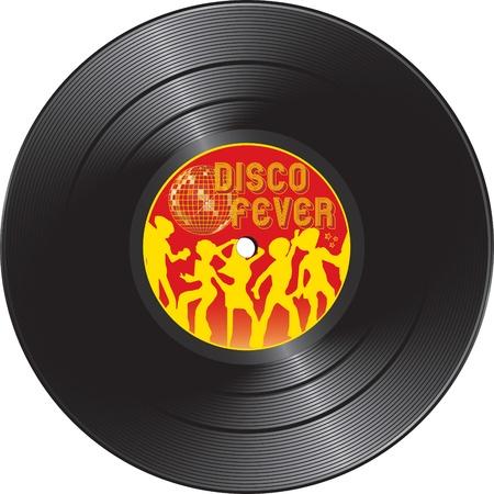 Illustration für Vinyl Record mit Disco-Fieber auf weißem Hintergrund isoliert