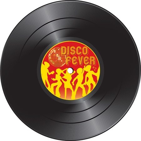 disk jockey: illustration for Vinyl record with disco fever isolated on a white background