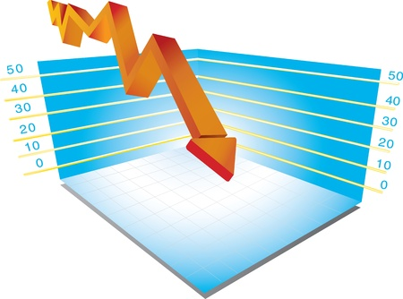market crash: Vector illustration of a 3D graph isolated on white background