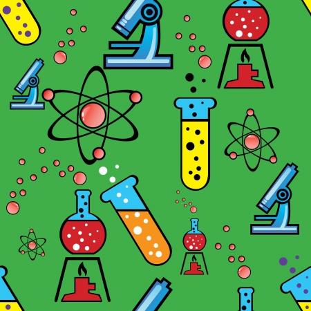 bureta: Ilustración vectorial de fondo sin fisuras con los objetos de la química
