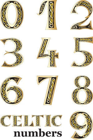 0 6: Vector illustration of Celtic numbers set isolated on white background
