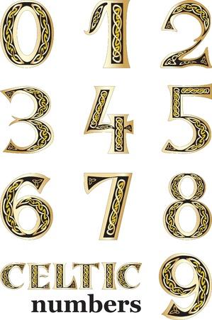 számok: Vektor, Ábra, kelta számok meg elszigetelt fehér háttér Illusztráció