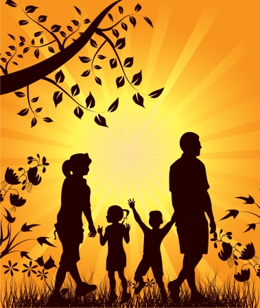freedom leisure activity: illustration for Happy family walks in nature at sunset