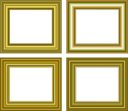 illustration for Golden frame isolated on white background