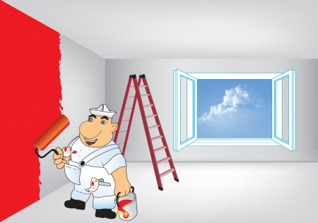 House painter in vector format  Painter performed spring room renovation Vector