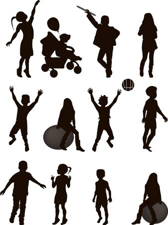 Silhouettes of children in vector format isolated on white background