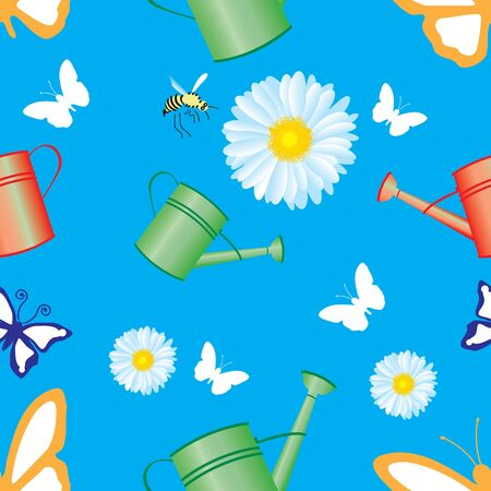 Seamless pattern with butterflies, flowers and elements from the garden