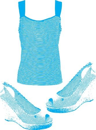 Women T-shirt and sandals